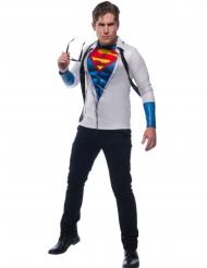 Superman™-Kostümzubehör T-Shirt für Herren Lizenz weiss-blau