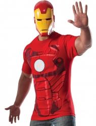 Iron Man™-T-Shirt und Maske für Herren Lizenz rot-gold
