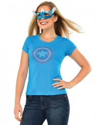 Captain America™-Kostüm-T Shirt mit Maske türkis-rot