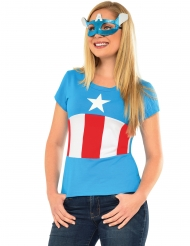 Captain America™-Kostüm-Set für Damen Lizenz blau-rot-weiss