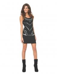 Black Panther™ sexy Damenkostüm Fasching schwarz