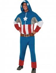 Captain America™-Einteiler mit Kapuze Marvel™-Overall blau-rot-weiss