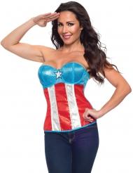 Captain America™-Kostüm-Korsage Lizenzartikel blau-weiss-rot