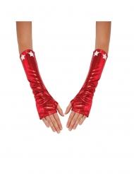 Captain America™-Armstulpen Kostümzubehör für Damen rot-weiss