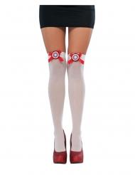 Captain America™-Overknees Kostümzubehör für Damen weiss-rot