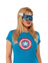 Captain America™-Augenmaske Kostümzubehör für Damen blau-weiss