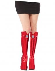 Captain America™-Stiefelstulpen für Superheldinnen Kostümzubehör rot