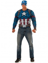 Captain America™-Muskel-Shirt und Maske für Herren blau-rot-weiss