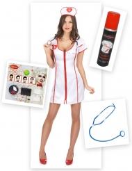 Zombiehaftes Krankenschwester-Damenkostüm Halloween-Set 13-teilig weiss-rot