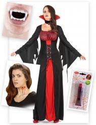 Vampir-Kostüm Halloween-Set für Damen 15-teilig schwarz-rot
