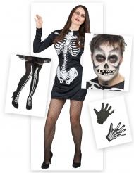 Skelett-Damenkostüm Halloween-Set 6-teilig schwarz-weiss