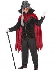 Vampir-Verkleidung für Herren Halloween Dämon schwarz-rot
