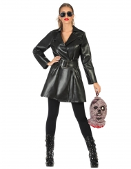 Vampir-Jägerin der Nacht Damenkostüm für Halloween schwarz