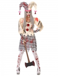 Blutiges Harlekin-Damenkostüm Halloween Zombie weiss-schwarz-rot