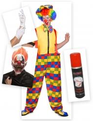 Psycho-Horrorclown Halloween-Set für Herren 7-teilig bunt
