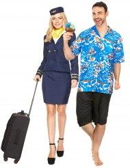 Humorvolles Paarkostüm Urlauber und Stewardess für Erwachsene bunt