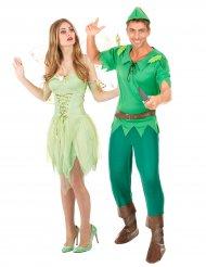 Märchenhaftes Paarkostüm Fee und Bogenschütze grün-braun