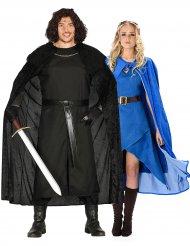 Mittelalterliches Paarkostüm Drachenjäger blau-schwarz