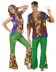 Flower Power Paarkostüm Hippie-Verkleidungen für Erwachsene bunt
