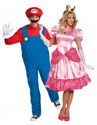 Videospiel-Paarkostüm Peach™ und Super Mario™ für Erwachsene bunt