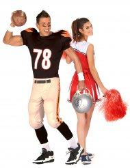 Sportliches Paarkostüm für Erwachsene Cheerleaderin und Footballspieler bunt