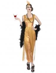 Charleston Vampir Damenkostüm-Set 7-teilig gold schwarz