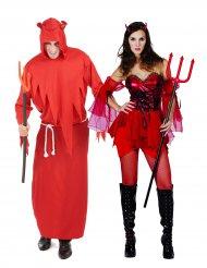 Teuflisches Paarkostüm für Erwachsene Halloween rot