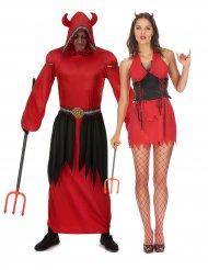 Teufel Paarkostüm Dämonen Halloween-Verkleidungen schwarz-rot