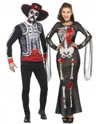 Paarkostüm Dia de los muertos Halloween-Verkleidung bunt