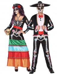 Dia de los muertos Paarkostüm Skelett Halloween bunt