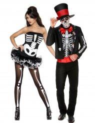 Skelett-Paarkostüm Tag der Toten Halloween Dia de los muertos bunt