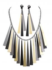 Antikes Schmuck-Set für Damen Ägypten schwarz-grau-gold
