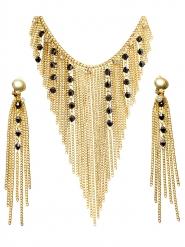 Ägyptische-Königin Schmuck-Set für Damen Antik gold-schwarz