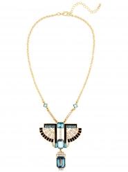 Antike Pharaonen-Halskette Damen-Accessoire blau-schwarz-gold