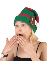 Humorvolle Wichtel-Mütze mit Ohren Elf grün-braun-rot