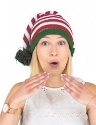 Weihnachtliche-Strickmütze Erwachsene rot-grün-weiss