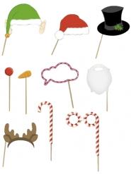 Weihnachtliches Photobooth 10-teilig Partyzubehör bunt