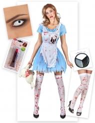 Zombie-Alice Halloween-Kostüm Set 5-teilig blau-weiss