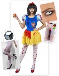 Zombiehaftes Prinzessinnen-Kostüm Märchen Halloween-Set 5-teilig blau-gelb