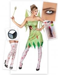 Zombiehaftes Feen-Kostüm Märchen-Set 5-teilig grün-weiss