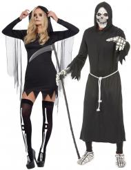 Skelett-Sensenmann Paarkostüm Halloween schwarz-weiss