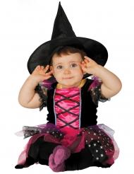 Niedliche Hexe Kinderkostüm für Mädchen pink-schwarz