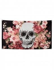 Skelett-Flagge mit Blumen Halloween-Dekoration bunt 90x150cm