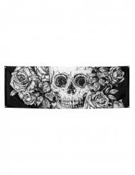 Tag der Toten-Wanddekoration Skelett Halloween-Deko schwarz-weiss 74x220cm