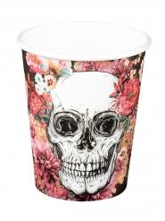 Totenschädel-Pappbecher mit Blumen Halloween-Tischdeko 6 Stück bunt 25cl