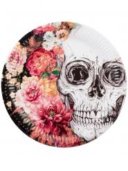 Skelett-Pappteller Sugar Skull mit Blumen 6 Stück bunt 23cm