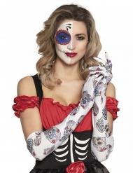 Dia de los muertos-Damenhandschuhe Kostüm-Accessoire weiss-bunt