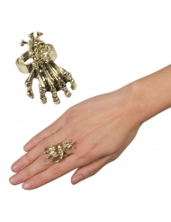 Brillanter Goldring mit Totenschädel Halloween-Accessoire gold
