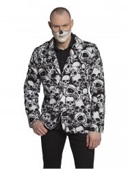 Totenschädel-Sakko für Herren Kostümzubehör Halloween schwarz-weiss