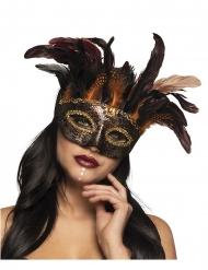 Elegante Steampunk-Voodoo Maske für Damen Kostüm-Accessoire bunt
